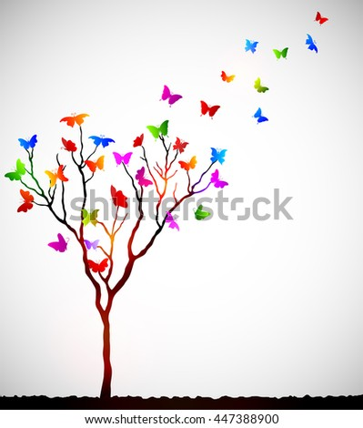 Abstract colorful background with butterflies - stock photo