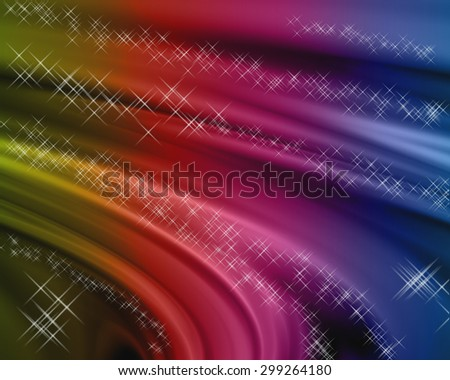 Abstract colorful background with the effect of flowing silk and sparkling stars