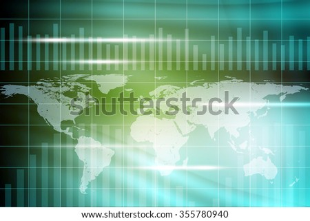 Abstract colorful background with world map and waves