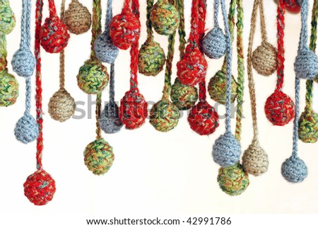 Abstract colorful  balls  knitted by a hook - stock photo