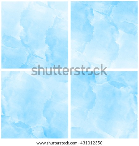 Abstract colorful blue watercolor art set  background hand paint on white background,It stays on isolated background.