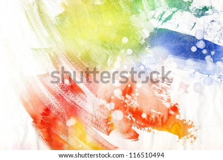 Abstract colorful brush strokes on paper texture - stock photo
