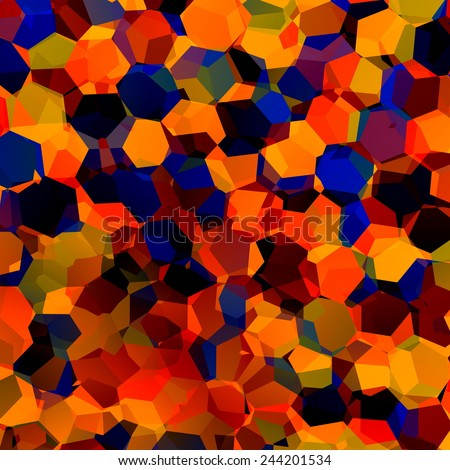 Abstract Colorful Chaotic Geometric Background - Generative Art Red Blue Orange Pattern - Color Palette Sample - Hexagonal Shapes Mosaic - Artistic Image Fantasy - Website Wallpaper Design - - stock photo
