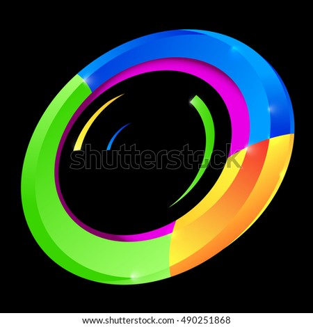 Abstract Colorful Circle Shape on Black Background