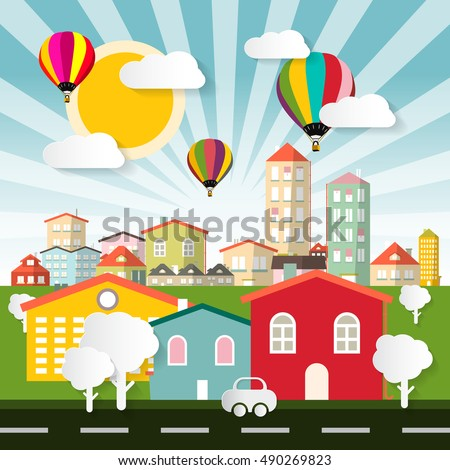 Abstract Colorful City - Town Flat Design Illustration with Balloons Houses Car with Street and Paper Cut Trees
