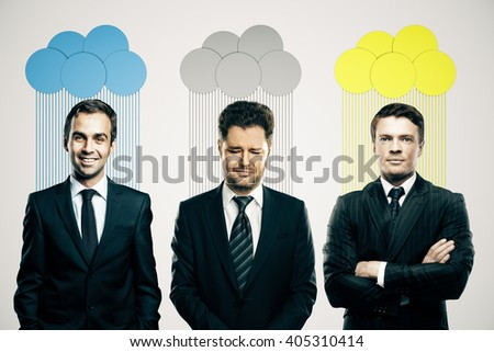 Abstract colorful clouds over heads of smiling and frowning business people on light background - stock photo