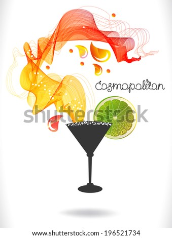 Abstract colorful cocktail with fruit over white, beautiful food illustration