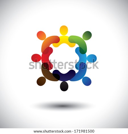 Abstract colorful community people icons in circle- graphic. This icon illustration can also represent concept of children playing together or friendship or team building or group activity,etc  - stock photo