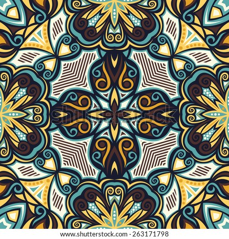 Abstract Colorful Damask Seamless Background. Raster Version - stock photo