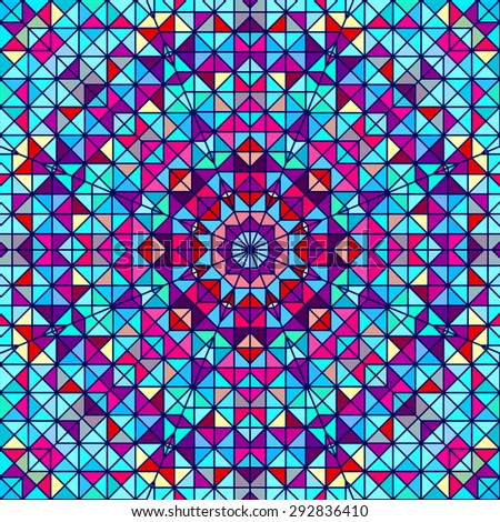 Abstract Colorful Digital Decorative Flower. Geometric Contrast Line Star and Blue Pink Red Cyan Color Artistic Backdrop - stock photo