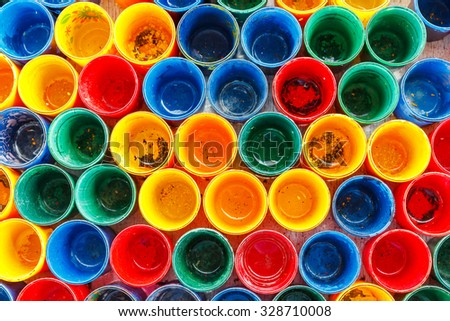 Abstract colorful dirty paint glasses background