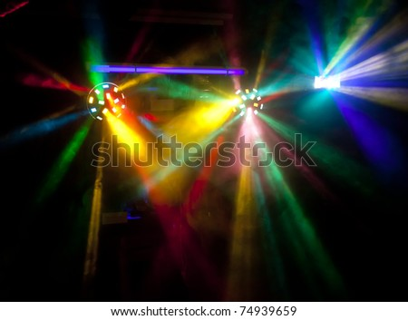 Abstract colorful disco lights in smoke