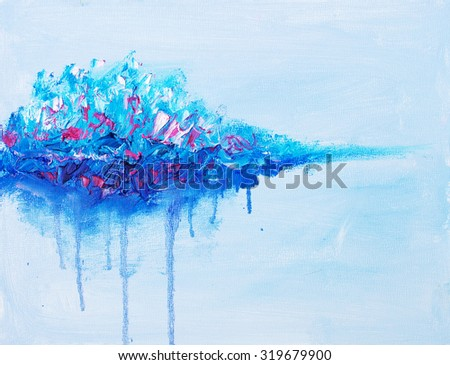 Abstract colorful drop. Oil painting - stock photo