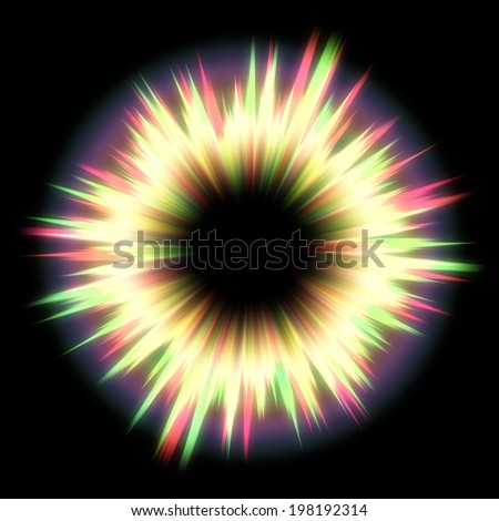 Abstract colorful exploding star, light burst on black background. - stock photo