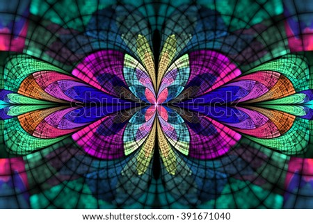 Abstract colorful floral ornament on black background. Symmetrical pattern in blue, rose, purple and green colors. Fantasy fractal design for postcards, wallpapers or t-shirts. - stock photo