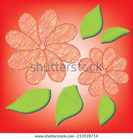 Abstract colorful flower on a red background