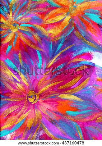 Abstract colorful flowers background, hand painted with acrylics,bright neon colors - stock photo