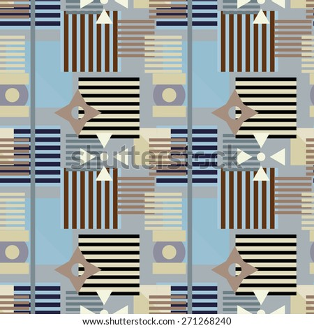Abstract colorful geometric seamless pattern. Circles, squares, stripes, lines. Repeating vintage background texture. Cloth design. Wallpaper, wrapping - stock photo
