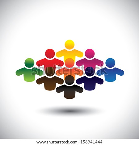 abstract colorful group of people or students or children - concept graphic. The graphic also represents people icons in various colors forming a community of workers, employees or executives - stock photo