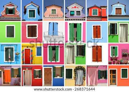 abstract colorful house made of many images with windows and doors, Burano, Venice, Italy,Europe - stock photo