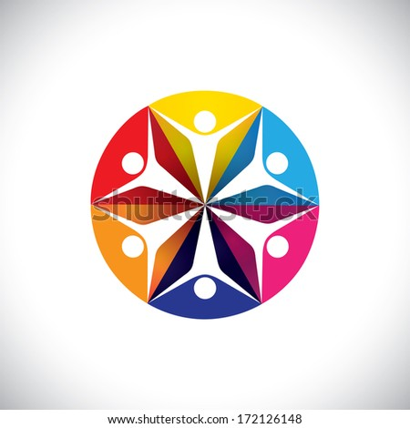 abstract colorful icons of children or kids happy & excited. This graphic illustration also represents concept of people community get-together, kids playing, friends partying & dancing, etc - stock photo
