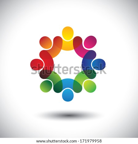 Abstract colorful icons of children or kids in school standing in circle. This graphic also represents concept of employees or workers meeting, workers union, executive staff discussions, etc - stock photo