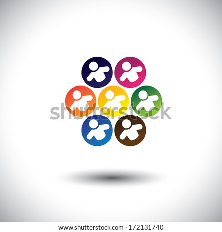 Abstract colorful icons of children or kids playing games in circle. This graphic illustration also represents concept of children in school, team of employees, office colleagues & staff, etc - stock photo