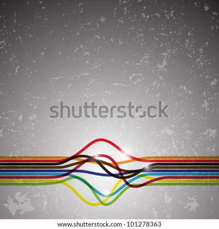 Abstract colorful lines or ribbons with twists on grunge background