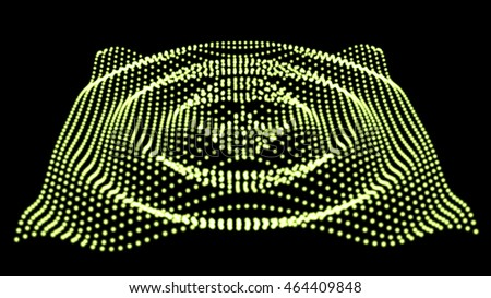 Abstract  colorful mesh on dark background. Futuristic style card. Elegant background for business presentations. Corrupted point sphere. Chaos aesthetics.