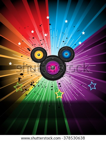 Abstract Colorful Music Event Background for Discotheque Flayers. - stock photo