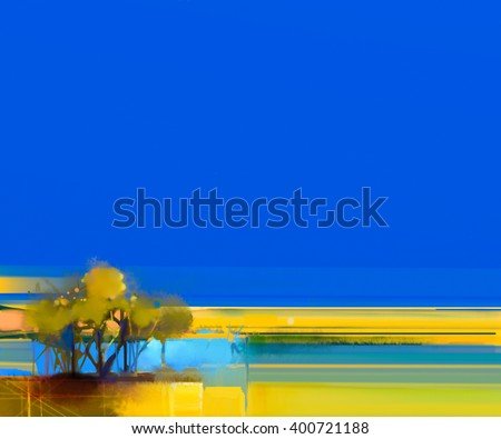 Abstract colorful oil painting landscape on canvas. Semi- abstract image of tree and yellow field with sunlight and blue sky. Spring season nature background - stock photo