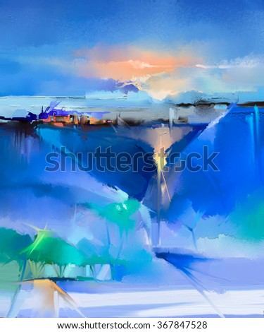 Abstract colorful oil painting landscape on canvas. Semi- abstract image of tree, hill and green, blue field with sunlight and blue sky. Spring season nature background - stock photo