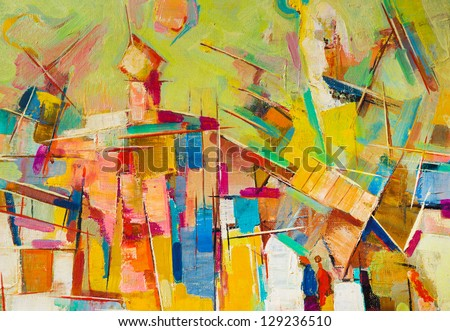 Abstract colorful oil painting on canvas - stock photo