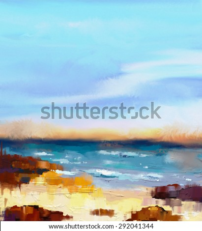 Abstract colorful oil painting seascape on canvas. Semi- abstract image of sea and beach with waves, rocks and blue sky. Summer season nature background - stock photo