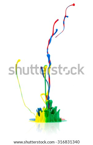 abstract Colorful paint splash on white - stock photo