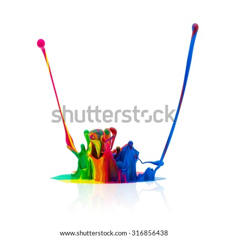 abstract Colorful paint splashing on white - stock photo