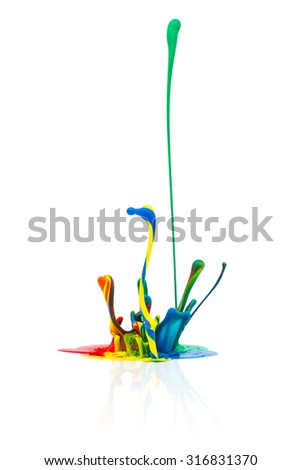 abstract Colorful paint splashing on white background