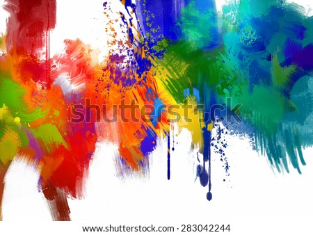 abstract colorful paint stroke on white background.digital painting - stock photo
