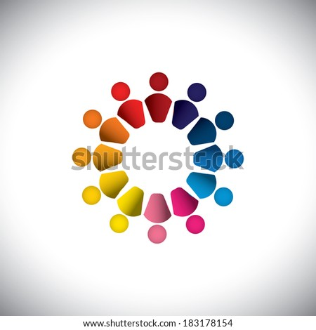 Abstract colorful people or children icons as circle- graphic. This graphic can also represents concept of kids playing together, friendship, team building, group activity, play-school, etc  - stock photo