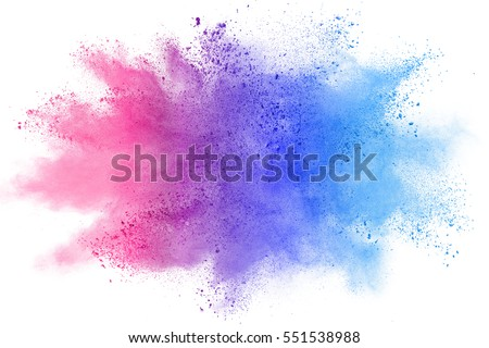 Abstract Colorful Powder Splatted Background On White Background