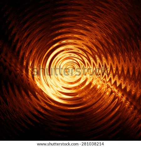 Abstract colorful ripple in water, yellow light with concentric circles - stock photo
