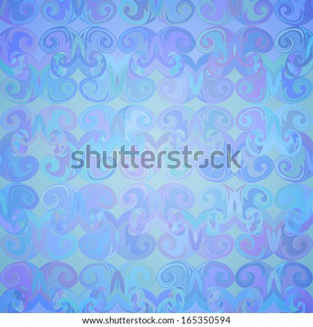Abstract colorful seamless pattern in blue tones with curls.  - stock photo