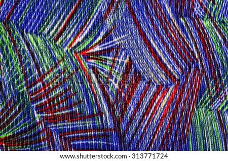 Abstract colorful shapes on fabric. Geometric shapes and lines print as background.