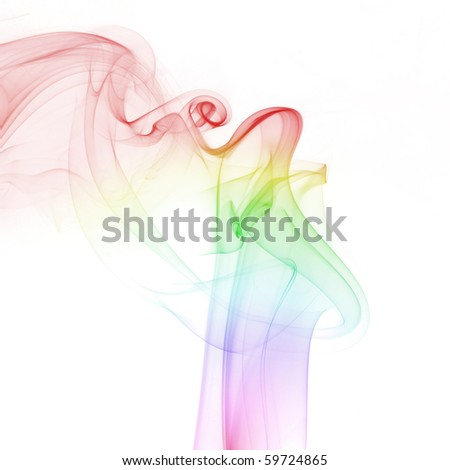 abstract colorful smoke isolated on white background - stock photo