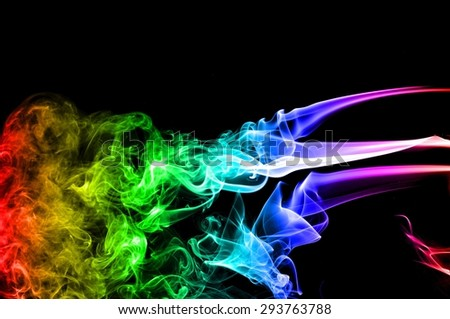 abstract colorful smoke on black background stock photo
