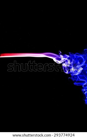 Abstract colorful smoke on black background, smoke background,colorful ink background,red and Blue fire,beautiful color smoke - stock photo