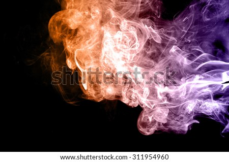 Abstract colorful smoke on black background, smoke background,colorful ink background,Violet,purple, Orange, beautiful smoke,Movement of smoke - stock photo