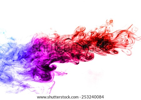 Abstract colorful smoke on white background. - stock photo