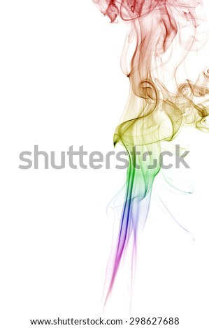 Abstract colorful smoke on white background, smoke background,colorful ink background - stock photo