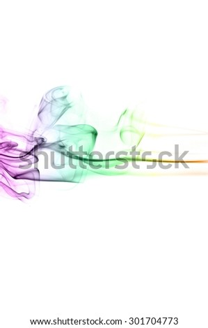 Abstract colorful smoke on white background, smoke background,colorful ink background,Violet, Green, Orange